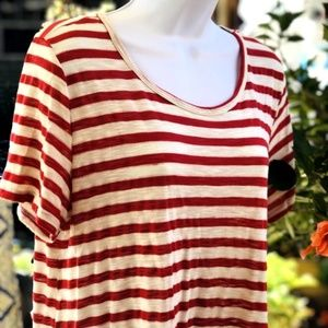Cute Bobeau Short Sleeved Hi Lo Striped Tunic